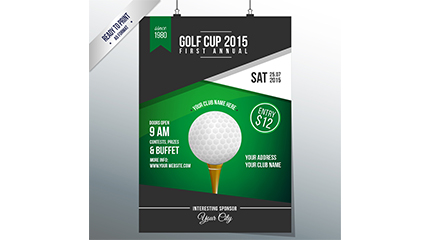 Posters vector material fashion golf tournament