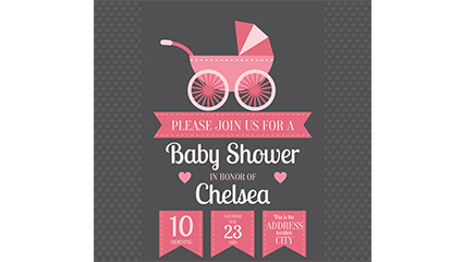 Infant stroller decorated welcome party poster vector