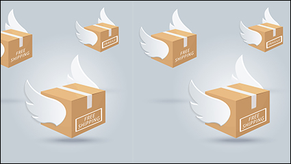 3 cartons with wings vector material