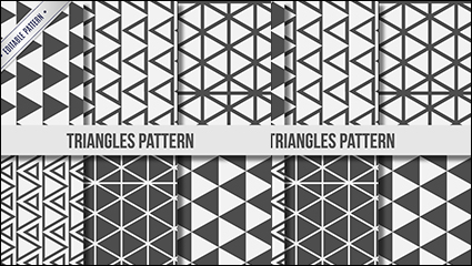 6 black and white triangle seamless background vector material