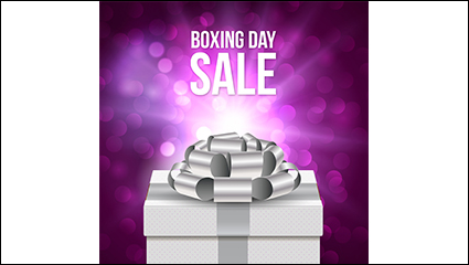 Boxing Day gift purple poster vector material